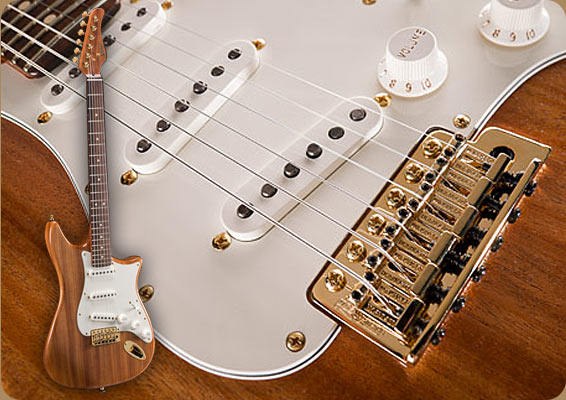Mahogany Stratocaster style electric guitar